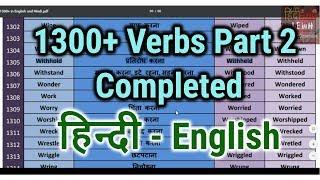 All Verbs | Verbs List in English Grammar in Hindi | Learn English through Hindi Part -2