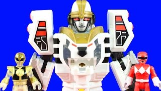 Power Rangers Imaginext White Ranger & Warrior Mode Tigerzord Rescue Friends And Defeat Goldar Zed