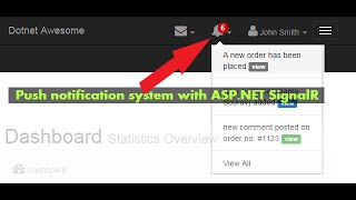 Create a push notification system with SignalR