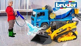 Машинки в воду Игрушки на автомойке #Брудер Бетономешалка Экскаватор. Bruder Toys car wash for kids