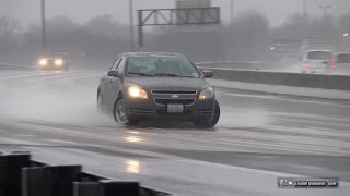 Icy slides and saves on Interstate 55 in St. Louis - January 13, 2017