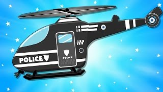Police Car - Helicopter Repair - Fire Tuck & Ambulance in Car Garage Video for Kids