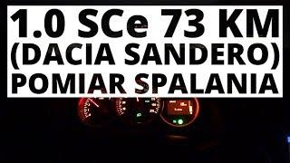 Dacia Sandero 1.0 SCe 73 KM (MT) - pomiar zużycia paliwa