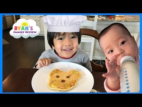 Kid Fun Size Breakfast food Making Pancakes in fun shapes for kids with Ryan s Family Review event