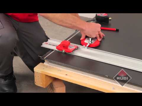 How to cut large tiles with RUBI Slim system cutter Como cortar ceramica de gran formato