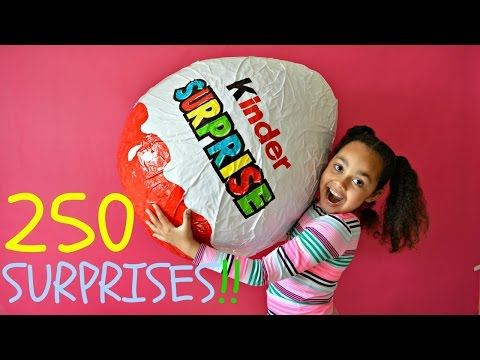 GIANT KINDER SURPRISE EGG | 250 Surprises | Toys AndMe