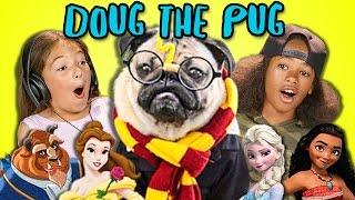KIDS REACT TO DOG REENACTS DISNEY, POKEMON, HARRY POTTER & MORE!  (Doug the Pug)