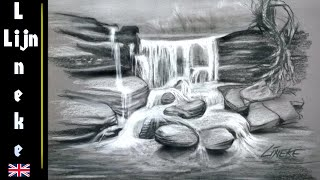 Drawing a WATERFALL in Charcoal and white Pastel very easy