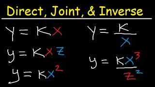 Direct Inverse and Joint Variation Word Problems Tutorial - Practice Examples Algebra 1 & 2