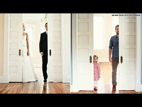 Widower recreates wedding pics with daughter