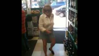 crazy drunk lady dancing in liquor store