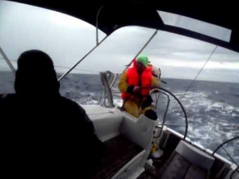 In 32 knots wind: Bavaria 40 cruiser in April 2011 on the Tyrrhenian sea