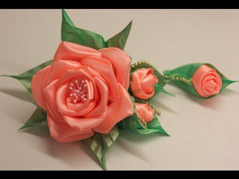 Цветы из ленты мастер класс