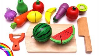 Learn Colors with Cutting Fruit and Vegetables Playset Pretend Play Food Toys for Kids and Children