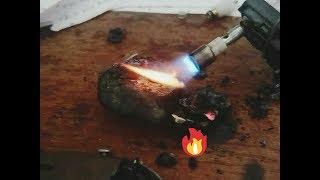 Mencoba Melebur BatuBara Menggunakan JET Api Dari korek Gas