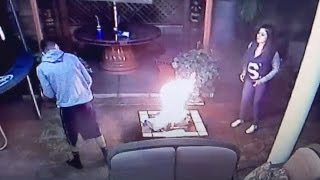 HE BURNED ALL HER STUFF!! *CAUGHT ON CAMERA*