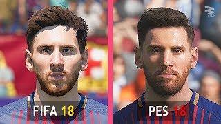 FIFA 18 Vs PES 18: Barcelona Faces Comparison