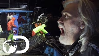Raging Seas Pull Man Overboard Into Freezing Water | Deadliest Catch