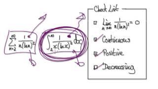 Video 2578 - The Integral Test - 1/n(ln(n))^2 - Infinite Series - Practice
