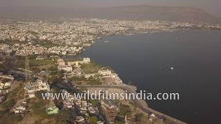 The holy city of Ajmer and the pristine Ana sagar lake | Aerial View | Rajasthan