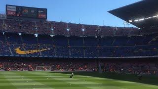 لعبة برشلونة اتليتكو بيلباو  بين الجماهير الان ننتظر دخول اللاعبين
