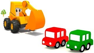 Excavator Max & 4 Cars. Baby cartoon with cars for kids.