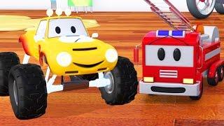 Fire truck, bulldozer, racing car and Lucas the Monster Truck  | Cartoon for children about trucks