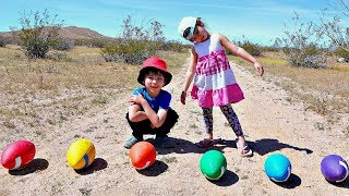 Learn Colors with Sport Ball Outside for Toddlers and Children