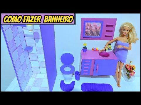 como fazer BANHEIRO para Bonecas Barbie.(box ,chuveiro, vaso sanitário,lavatório e espelho.)