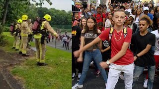 Firefighters Entertain Kids With 'Backpack Kid' Dance During Fire Drill