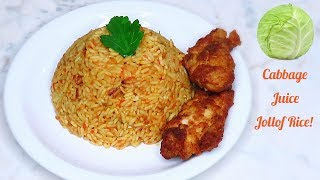 Very Tasty and Spicy Cabbage Juice Jollof Rice | A must try!!