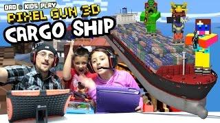 Dad & Kids play PIXEL GUN 3D! Pt. 29 Cargo Ships & Inside the Code (Deathmatch & Team Battle)