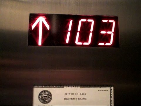 Going up on the Fast Schindler Elevators at Sears Willis Tower Skydeck in Chicago