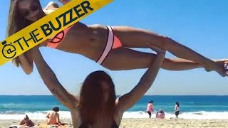 This girl's bikini workout at the beach is no joke