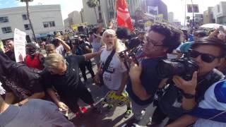 MAGA MAN knocks out Antifa's GANDALF the Fuc Out Hollywood CA Trump Rally
