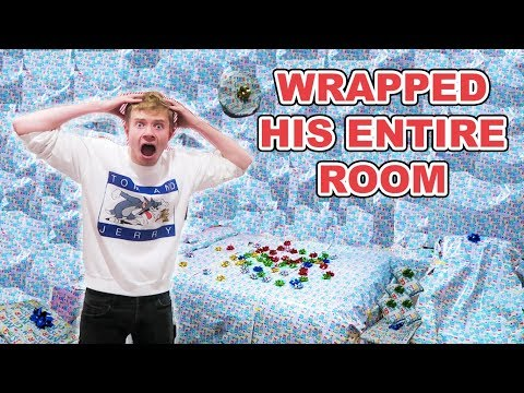 GIFT WRAPPING ROOMMATES ENTIRE ROOM PRANK