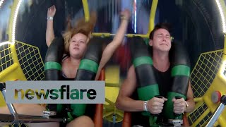Girl passes out on slingshot ride