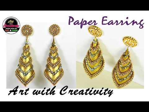 How to make Paper Earrings   made out of paper   Art with Creativity 143