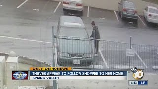 East County shopper says thief tracked her from mall, targeted her car with gifts inside