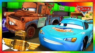 Cars 3 .. 2 .. 1 .. Go !!! - ENGLISH - BLUE McQueen & Mater - Hook !!! ( CARS - FAST AS LIGHTNING )