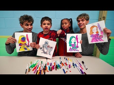 3 MARKER CHALLENGE w/ our LITTLE BROTHER and LITTLE SISTER!!
