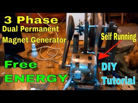 Self Running 3 Phase Dual Permanent Magnet Free Energy Generator 2017 - 2018 Tutorial - DIY - part1