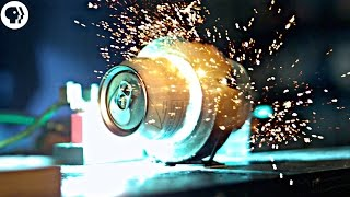 Exploding soda cans with electromagnets in SLOW MOTION ft Joe Hanson
