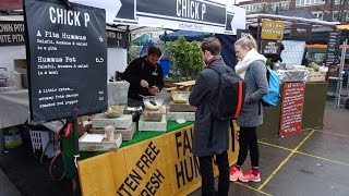 """Delicious Middle Eastern Street Food: Vegetarian Falafel / Hummus / Salad Wraps by """"Chick P"""" London."""