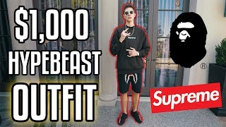 THE $1,000 HYPEBEAST OUTFIT CHALLENGE  (SUPREME AND BAPE)