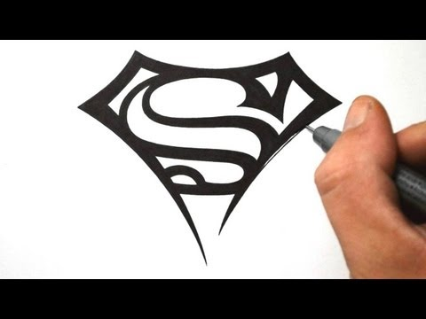 How to Draw Superman Logo Tribal Tattoo Design Style