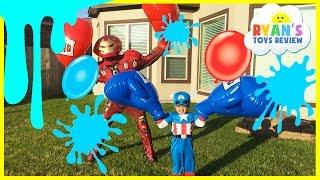 Water Balloons Fight Captain America Civil War vs Iron Man Marvel SuperHeroes Battle Ryan ToysReview