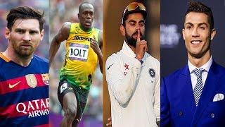 রোনালদো মেসি উসাইন বোল্টকে টেক্কা দিচ্ছেন বিরাট কোহলি Ronaldo vs Messi vs Bolt vs Kohli