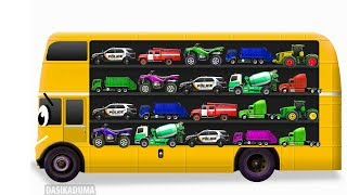 Learn Street Vehicles for Kids with School Bus. Cars and Trucks. Tractor Transport for children Toys