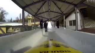 Bobsleigh run at Sigulda, Latvia, as part of Ben's Stag weekend!